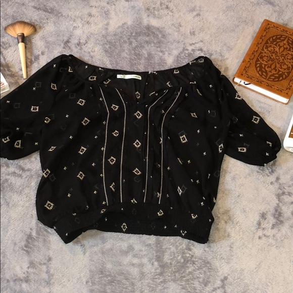 192d606aefd42 Maurices Tops | Black Patterned Blouse | Poshmark